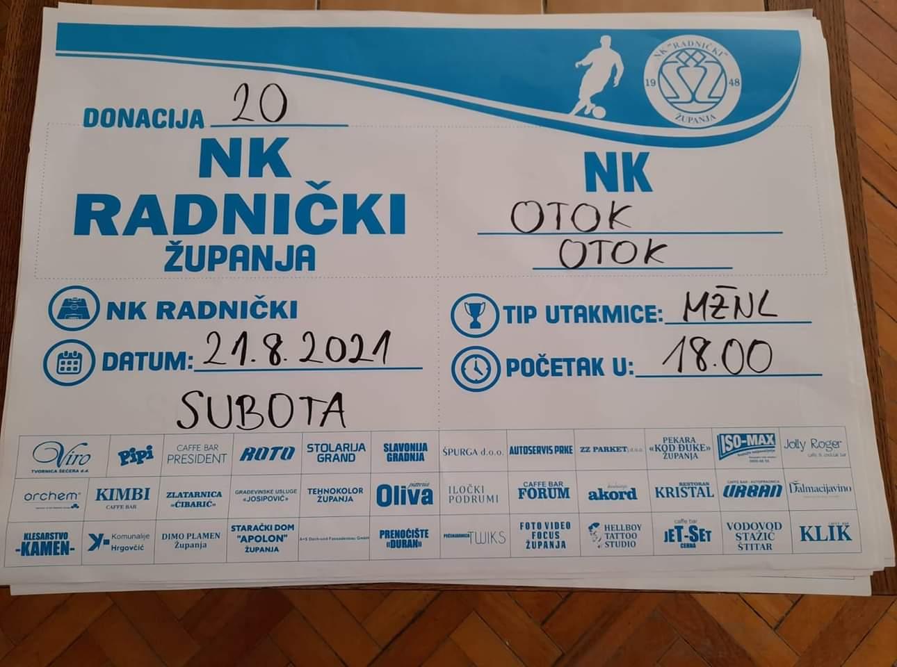 Sutra NK Radnički-NK Otok