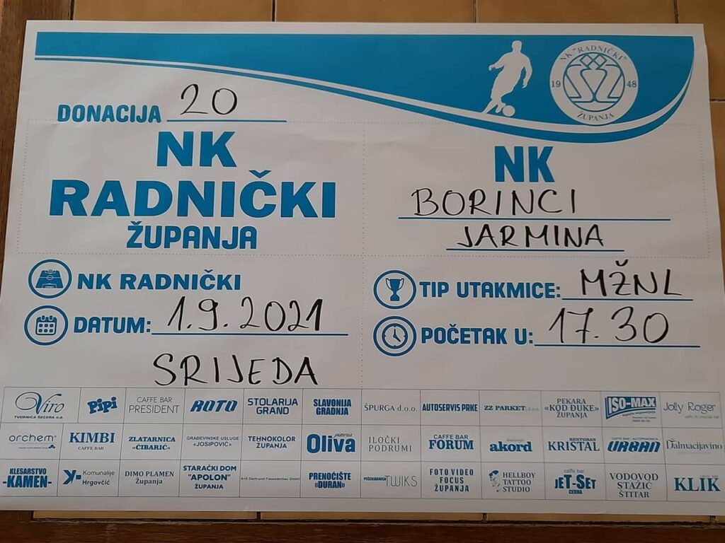 Danas NK Radnički-NK Borinci