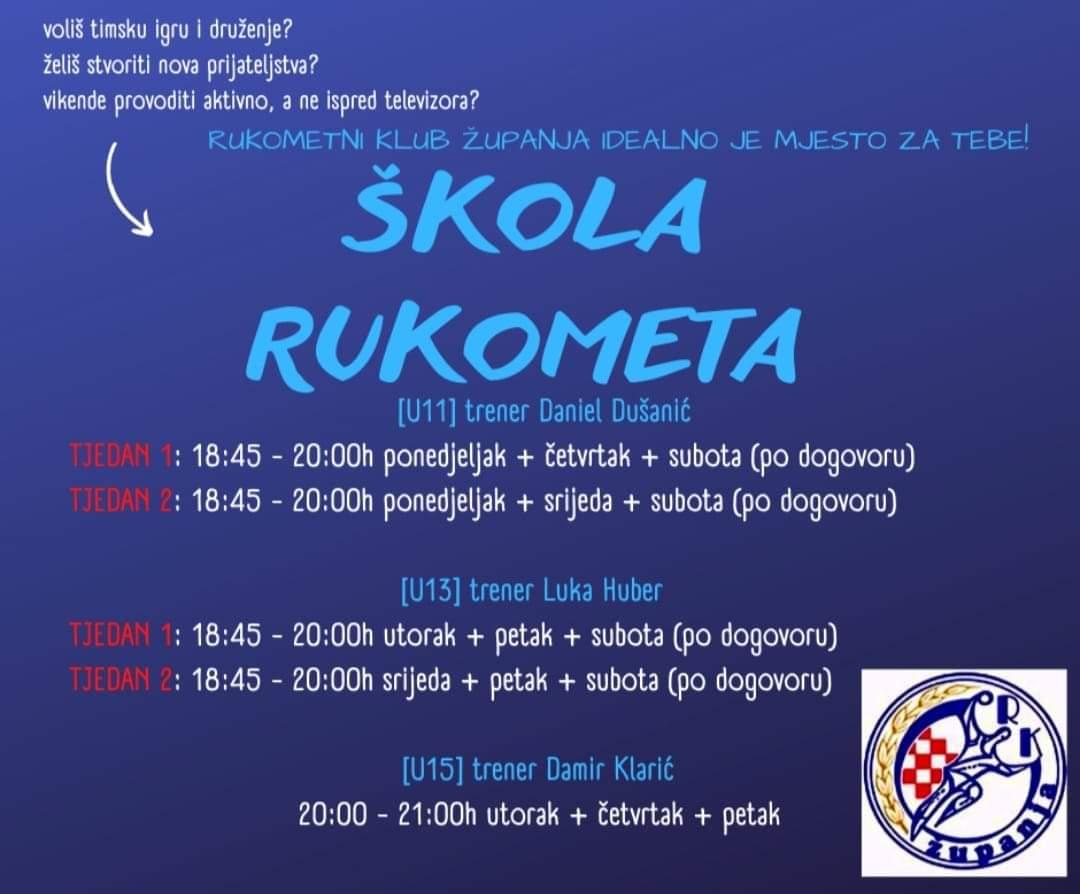 """ŠKOLA RUKOMETA """"RK ŽUPANJA"""" – POZIV"""