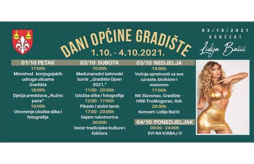 DANI OPĆINE GRADIŠTE 01.-04.10.2021. - PROGRAM
