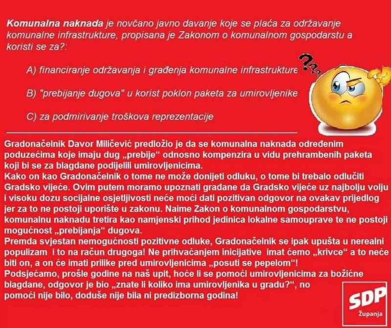 Reakcija SDP Županja na gradonačelnikov nacrt i prijedlog